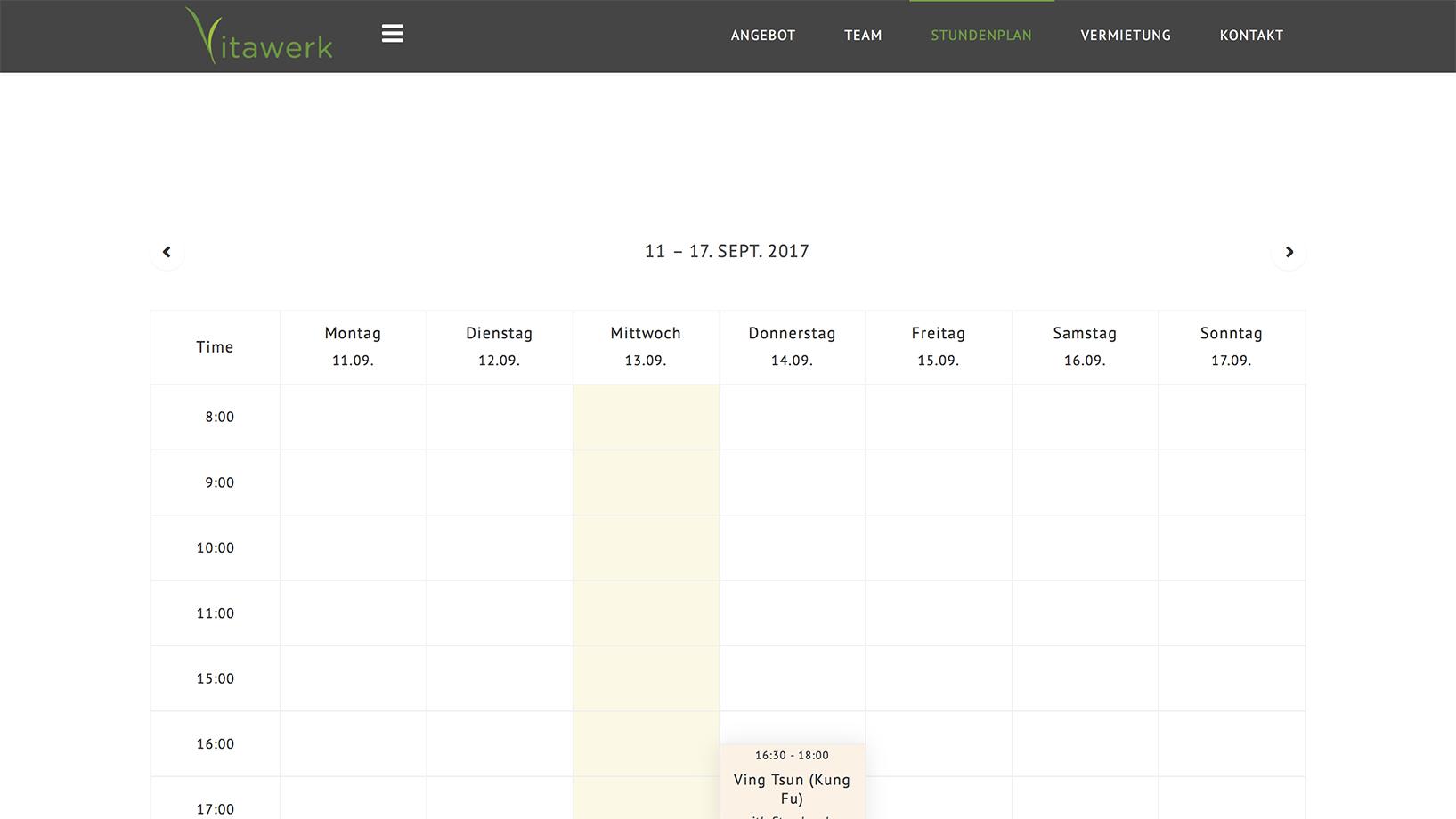Vitawerk Stundenplan